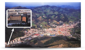 Aerial view of Eibar. Location of The Residential Center